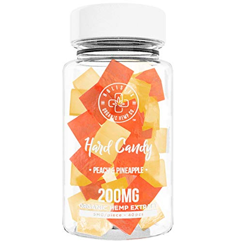 (Organic Hemp Infused Hard Candy, 200 mg (5mg/piece) - Made with Organic Beet Sugar - Relieve Stress, Boost Mood, Gluten Free, Non-GMO, USDA Certified Vegan 40 Candies, Peach and Pineapple)