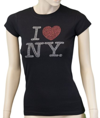 I Love NY New York Womens T-Shirt Ladies Rhinestone Tee Heart Black (Fitted (Heart Love Ladies Fitted Tee)