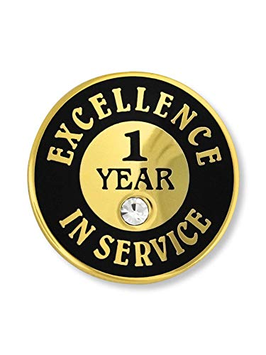 - PinMart Gold Excellence in Service Enamel Lapel Pin w/Rhinestone - 1 Year