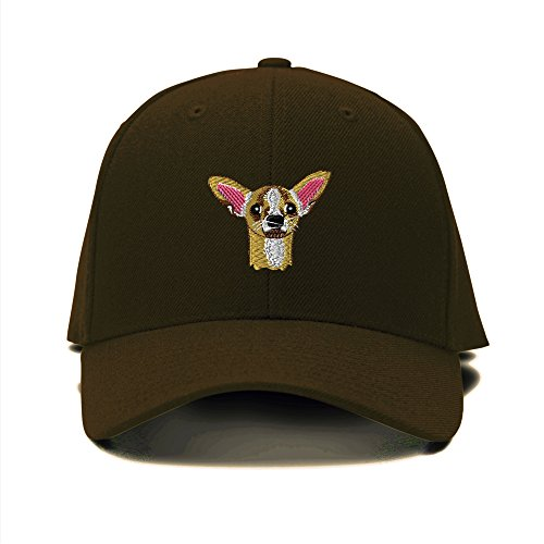 Chihuahua Head Dogs Pets Embroidery Adjustable Structured Baseball Hat (Dog Head Embroidery)