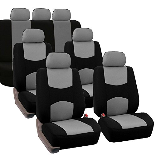 FH Group FB051217 Three- Row Multifunctional Flat Cloth Car Seat Covers, Airbag Compatible and Split Bench Gray/Black - Fit Most Car, Truck, SUV, or Van