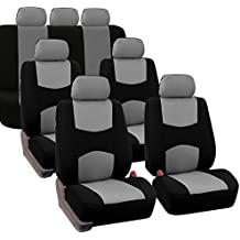 FH GROUP FB051217 Three- Row Multifunctional Flat Cloth Car Seat Covers, Airbag Compatible and Split Bench Gray / Black - Fit Most Car, Truck, Suv, or Van