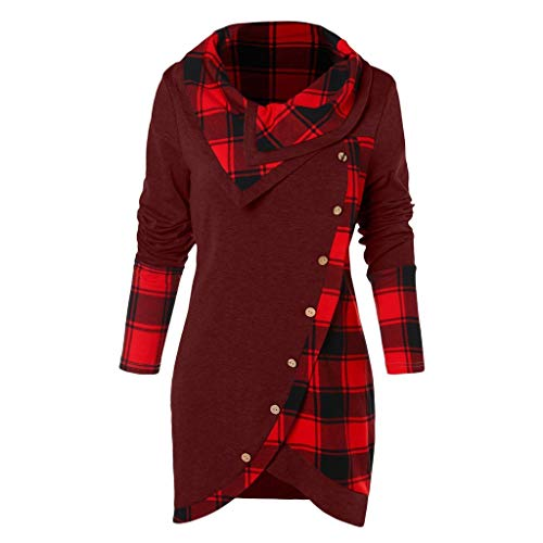 HULKAY Top Women's Cowl Neck Plaid Drawstring Button Hoodie Sweatshirt Tunic Dress(Red,3XL)