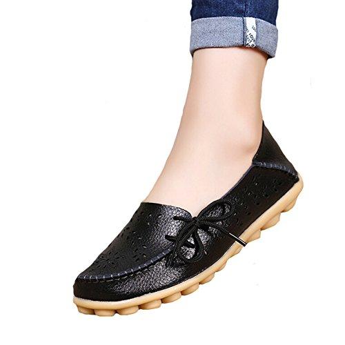 Angelliu Femmes Casual Creux Automne Printemps En Cuir Doug Appartements Mamans Chaussures Mocassins Noir