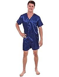 Del Rossa Men's Satin Pajamas, Short V-Neck Pj Set