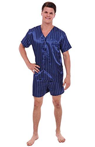 Mens Satin Pajamas, Short V-Neck Pj Set, Small Blue Striped (A0613R05SM) (Satin Striped Button)