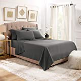 Empyrean Stronger Bed Sheet Set - Holds Longer 110 GSM Heavyweight - Luxury Soft Double Brushed Microfiber - 6 Piece Sheets with 4 Pillowcases - Tight Fit Straps Fitted Sheet - Queen Size, Dark Gray