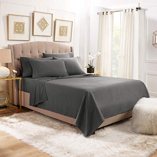 Empyrean Bedding 6 Piece Bed Sheet Set - Heavyweight 110 GSM Strong & Soft Fabric - Tight Fit Extra Corner Straps 14