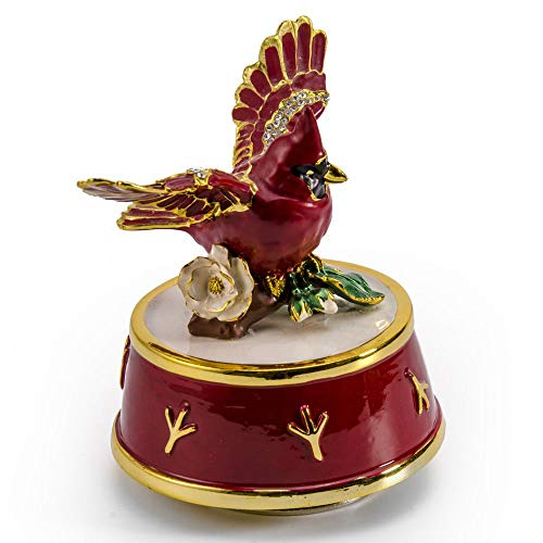 Jeweled Cardinal Bird with Red and Gold Accents Rotating Musical Keepsake - Over 400 Song Choices - On The Wings of - Wings Jeweled Fairy Princess