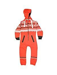 Kids Plain Aztec Animal Sleepsuit Pyjamas All In One Suit Comfy Soft Hoodeed Onesie