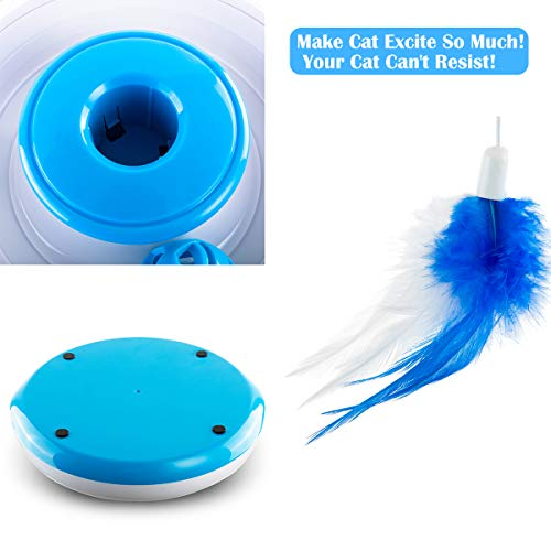 Hollypet Electric Cat Teasing Toy 360 Degree Mute Training Pet Toy Kitten Rotate Feather Interactive Toy 6
