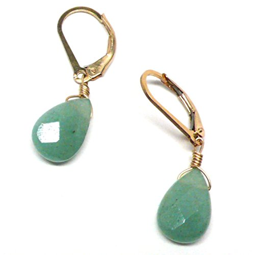 Green Aventurine Briolette Gold-Filled Lever Back Earrings Custom (Green Aventurine Briolette Earrings)