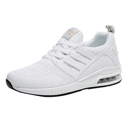 Respctful✿Men's Fashion Athletci Sneakers Mesh Breathable Tennis Sports Flats Casual Indoor and Outdoor Shoes for Women White