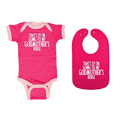 Mashed Clothing - That's It! I'm Going to My Godmother's House - Baby Ringer Bodysuit & Premium Bib Gift Set (Hot Pink/Pink Ringer, Hot Pink Bib, Newborn) ()