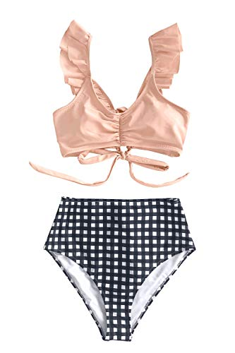Gingham Bikini Bottom - CUPSHE Women's Pink Ruffled Bikini Set High Waist Gingham Bottom Swimsuit, M