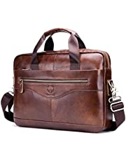 Men Leather Briefcase Bag Cross Body Handbag with Zipper for Business Travel 15.35x11.42x3.54 Inch (Brown)