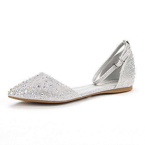 Women Flat Dress Shoes (DREAM PAIRS FLAPOINTED-SHINE New Women's Casual D'orsay Rhinestones Pointed Toe Comfort Soft Ballet Flats Shoes SILVER SIZE 9)