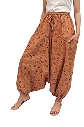 "Wynnthaishop'100% Cotton Baggy Boho Aladin Yoga Harem Pants (L-XXL for Waist for 34"" - 48, Gold Light Brown)"