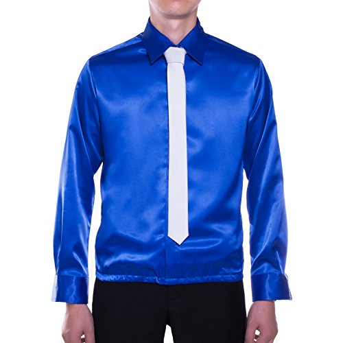 MJB2C Michael Jackson Costume - Smooth Criminal Shirt - Blue - Small - Free Gift Tie