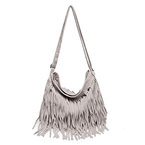 RARITY-US Women Fringe Tassel Shoulder Bag Large Leather Tote Handbag Hobo Crossbody Bag