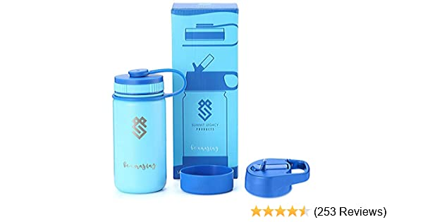 Insulated Stainless Steel Metal Bottle Summit Kids 14 oz Water Bottles Use as a Tumbler Sippy Cup Silicone Sleeve /& 2 BPA Free Plastic Lids Thermos or Kids Canteen for Boys /& Girls
