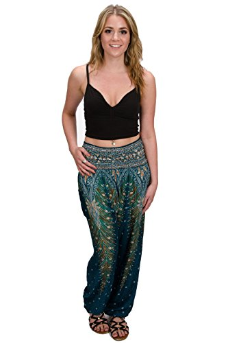 Happy Trunks Harem Pants - S M L XL 2XL - Womens Plus Hippie Bohemian Yoga Elephant Pants (Large, Green Peacock) Lightweight Trunk