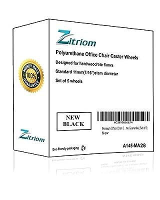 "zitriom Premium Office Chair Caster Wheel Universal Standard Size 11mm Stem Diameter X 22mm Stem Length (7/16"" X 7/8"") Pack of 5"