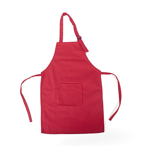 Opromo Colorful Cotton Canvas Kids Aprons with Pocket, Artist Apron & Chef Apron(S-XXL)-Red-M