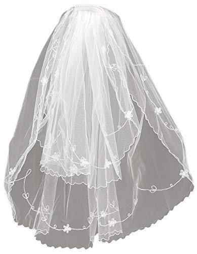 Angels Garment Girls White Flowers Details Communion Bridal Veil from Angels Garment