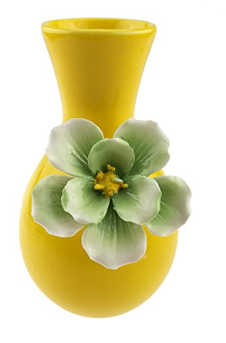 A Petite Simple Classic Carved Ceramic Vase Porcelain Household Home Decoration (Yellow)