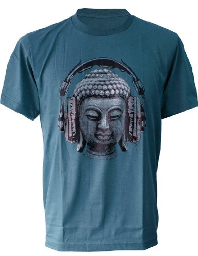 SODAtees DJ Buddha Headphones music Men's T-SHIRT goa club - Petrol - Medium