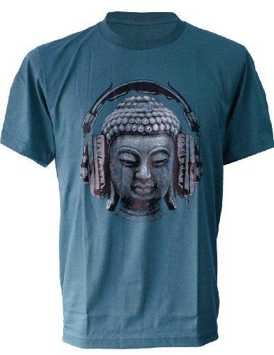 (SODAtees DJ Buddha Headphones music Men's T-SHIRT goa club - Petrol - Medium)