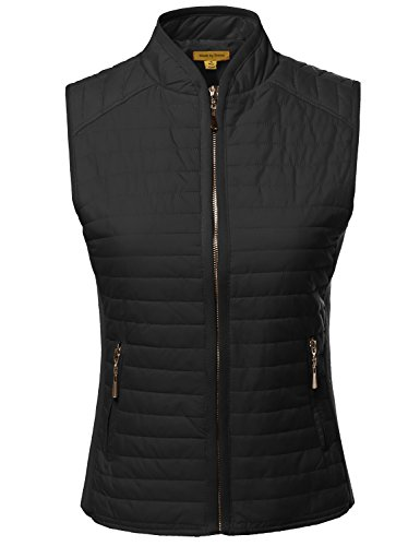 Made by Emma Solid Basic Quilted Vest Side Rib Panel Details Black M