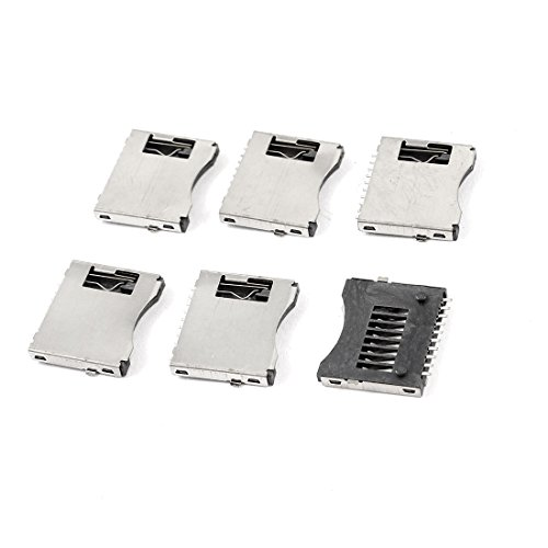 Uxcell a14061000ux0287 SMT SMD Cell Phone TF Micro SD Memory Card Slot Holder Sockets (Pack of 6) (Micro Under $2 Sd Card)