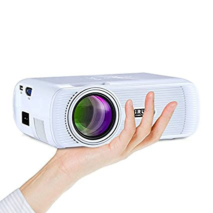iRULU 80 Mini LCD LED HD Video Projector 1200 Lumens Home Theater VGA USB SD AV HDMI Connectivity For Movie Music Photo Pictures Anniversary Party White # 80