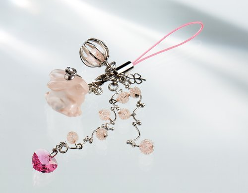 Kisaragi Cell phone Strap)Pink rabbit carrying a happy Sparkling Heart strap