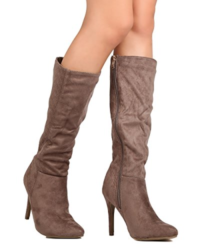 DbDk FE56 Women Faux Suede Knee High Quilted Stiletto Boot - Taupe (Size: (Quilted Stiletto Boots)
