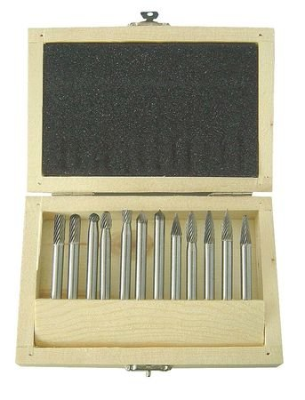 Westward 2LYR5 Carbide Bur Set, Single Cut, 1/4 In, 12 Pcs by Westward