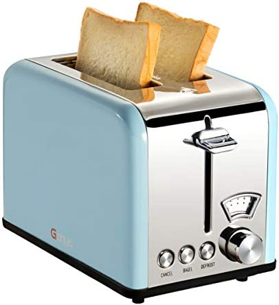 Gohyo 2 Slice Toaster 100 Stainless Steel with Wide Slots Removable Crumb Tray for Bread Bagels Blue
