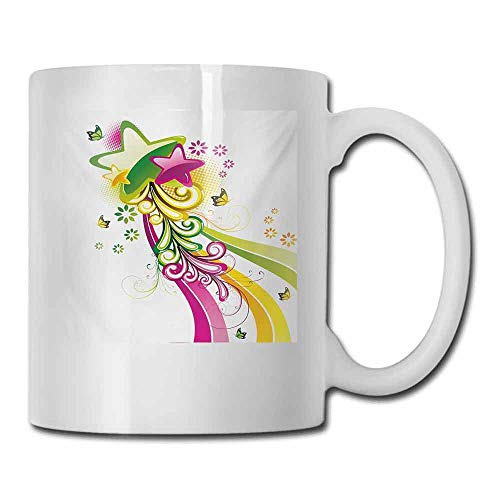 - Tea Cup Abstract Vibrant Colored Shooting Stars Butterflies and Swirls with Floral Space Cocoa 11 oz Hot Pink Yellow Green