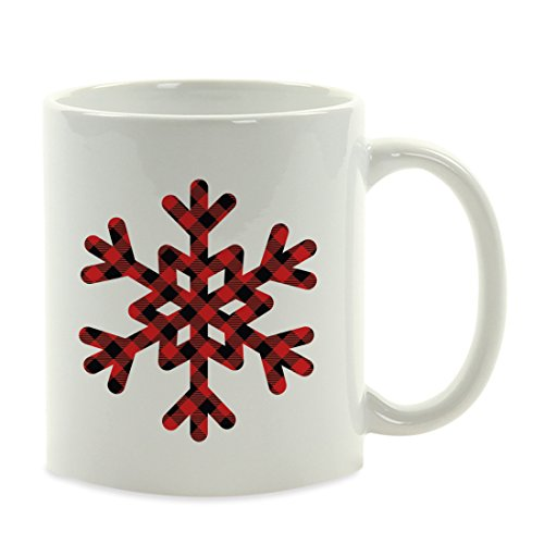 Andaz Press Personalized Coffee Mug Gift, Buffalo Lumberjack Red Plaid Snowflake, 1-Pack, Custom, Includes Gift Bag, Christmas Holiday Present Ideas (Buffalo Snowflake)