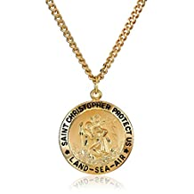 """Men's 14k Gold Filled Round Saint Christopher Pendant Necklace with Land , Sea and Air Design with Stainless Steel Chain, 24"""""""