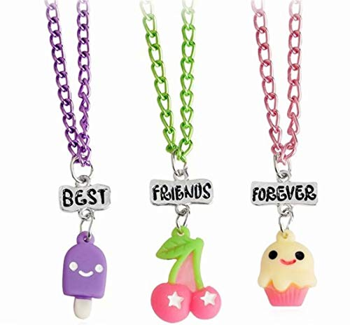 Tmrow BFF Necklace 3 Packs Best Friends Forever Kids Children Resin Pendant Necklace