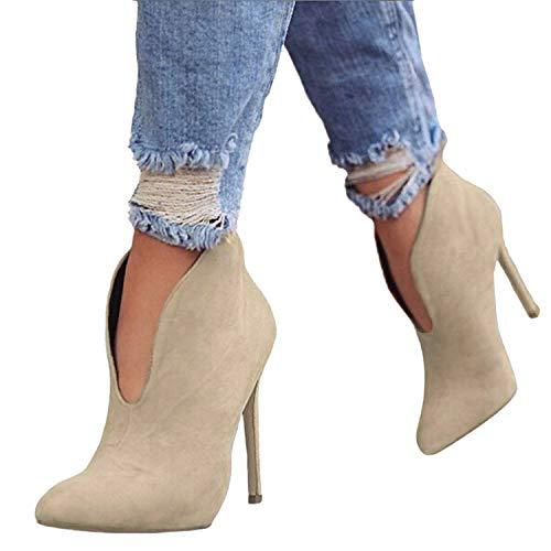 Elegante A Spillo Cm Moda High Casual Heels Donna Tacco 12 Stivali Autunno Tacchi Stivaletti Alti Boots Scamosciato Ankle Scarpe Minetom Cachi q18ZzH