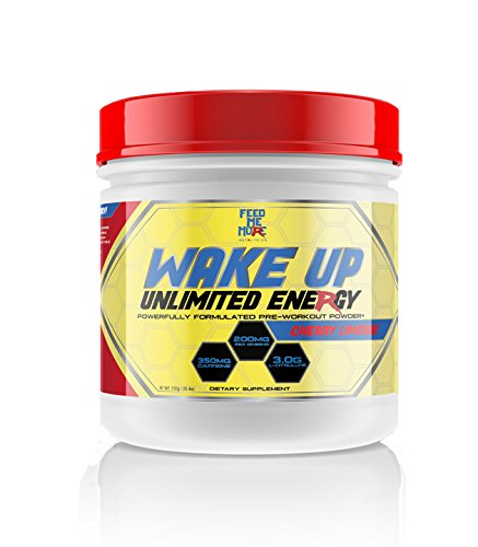 Wake up Pre Workout Powder Supplement Drink - #1 Unlimited Energy Powder Mix for Gym, Men or Women, Weight Lifting or Cardio, Non GMO, All Natural Gluten Free, Sweetened with Stevia (Cherry Limeade)