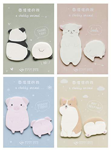 Cute Panda Dog Pig Sheep Shaped Self-Stick Notes, Scratch Pads, 4 Pads/Pack, 40 Sheets/Pad (Chubby Animal)