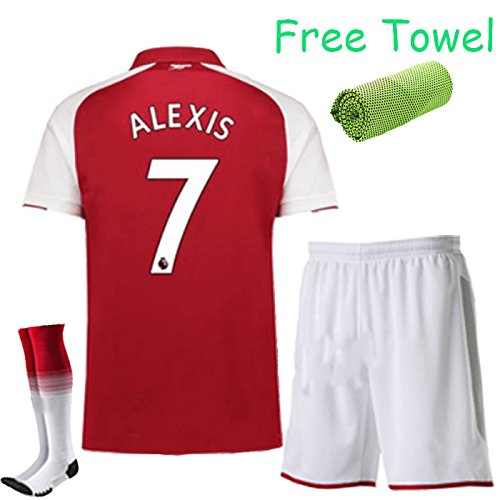 FC FirstClass 2017-18 Football Soccer Red kit Home Jersey Kids Youth Sportwear suit 3-12 YRS With Shirt & Shorts & Socks & Free Face Cloth (ALEXIS 7, 11-12 years)