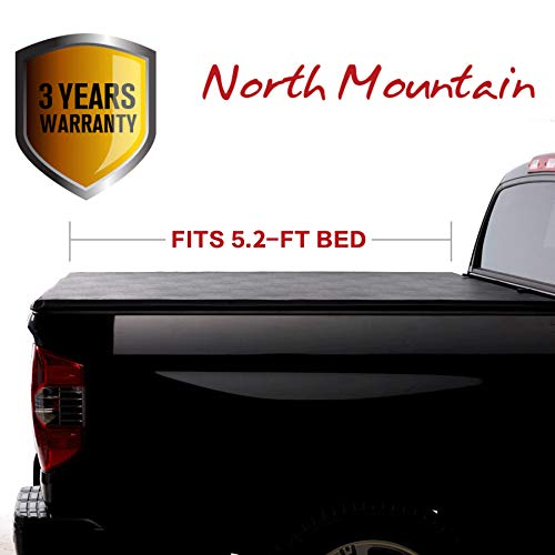 North Mountain Soft Vinyl Roll-up Tonneau Cover, Fit 15-19 Chevy Colorado/GMC Canyon Pickup 5.2ft Bed, Clamp On No Drill Top Mount Assembly w/Rails+Mounting Hardware ()