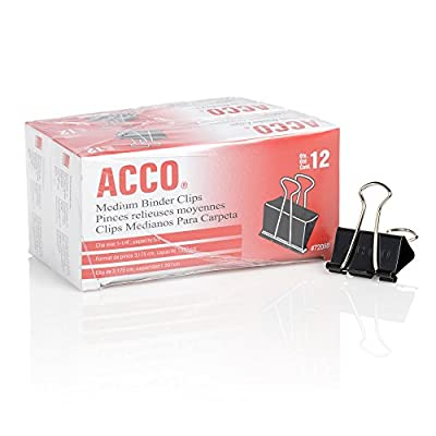 ACCO Binder Clips, Medium, 12/Box, 10 Boxes (72050)