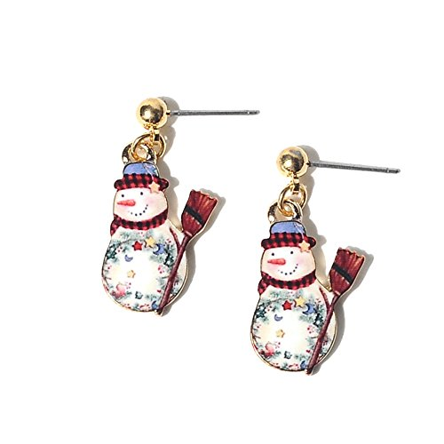 New Arrival Creative Christmas Seris Snowman / Santa Claus / Deer / Christmas Tree Pendant Womens Girl's Earring Ear Studs (Snowman(Multicolour)) (Earring Santa Pattern)